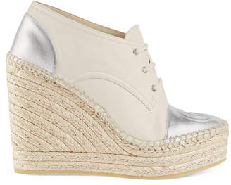 Gucci Pilar Metallic Leather Lace-Up Wedge Platform Espadrilles