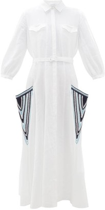 Gabriela Hearst Woodward Crochet-pocket Aloe-linen Shirtdress - White Multi