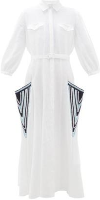 Gabriela Hearst Woodward Crochet-pocket Aloe-linen Shirtdress - Womens - White Multi