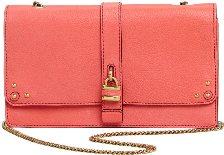 Chloé Aurore Padlock Wallet on a Chain, Pink