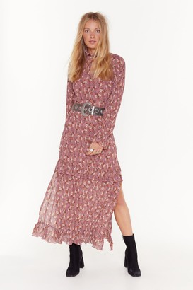 Nasty Gal Womens Don't Grow Without Me Floral Maxi Dress - Beige - 4