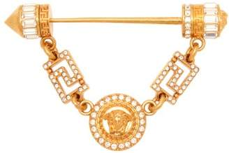 Versace Crystal-embellished Medusa Head Coin Brooch - Womens - Gold