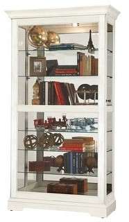 Howard Miller Tyler IV Modern, Sleek & Chic, Beachy, Coastal White Solid Wood, Large, Tall, 7-Shelf Living Room Curio Cabinet