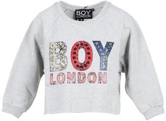 Boy London Gray Cotton Cropped Women's Sweater