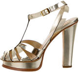 Roberto Cavalli Metallic Platform Sandals