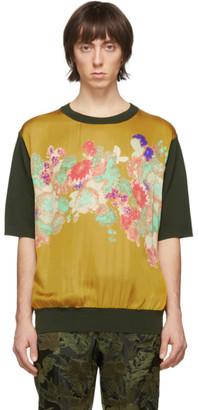 Dries Van Noten Khaki Merino Floral Print T-Shirt