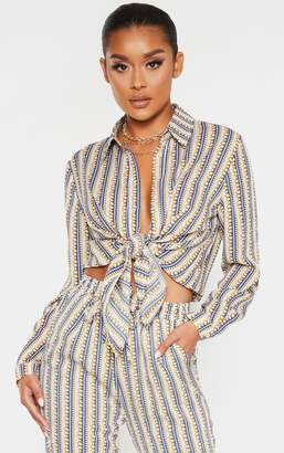 PrettyLittleThing Cream Chain Print Shirt Oversized