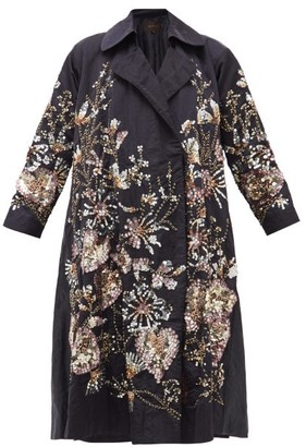 Biyan Ramora Sequinned And Beaded Linen-blend Coat - Navy Multi