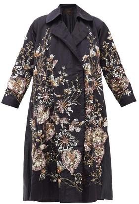 Biyan Ramora Sequinned And Beaded Linen-blend Coat - Womens - Navy Multi