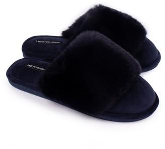 Pretty You London Danni Super-Soft Mule Slippers In Navy