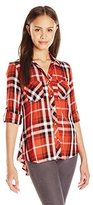 My Michelle Juniors Plaid Button up Shirt with Roll Tab Sleeves and Front Pockets