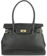 Black Handstitched Pebble Leather Large Satchel Bag