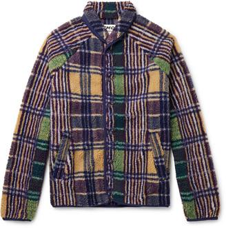 YMC Beach Shawl-Collar Checked Fleece Jacket