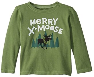 Life is Good Merry X-Moose Crusher Knit Tee (Toddler) (Fresh Pine) Kid's T Shirt
