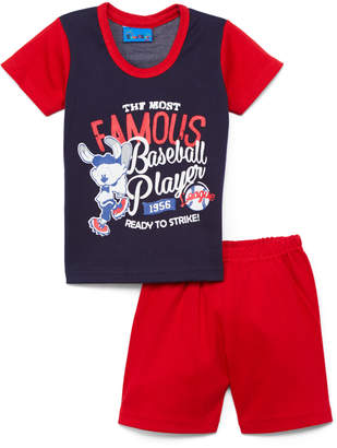 Sweet & Soft Boys' Casual Shorts Red - Red & Navy 'Famous Baseball Player' Bunny Tee & Shorts - Infant