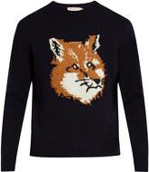 MAISON KITSUNÉ Fox-intarsia crew-neck wool sweater