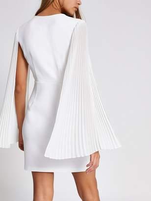 River Island Pleated Sleeve Mini Bodycon Dress- White