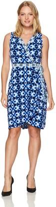 London Times Women's Batik Ikat Wrap Printed Jersey Fit and Flare Dress
