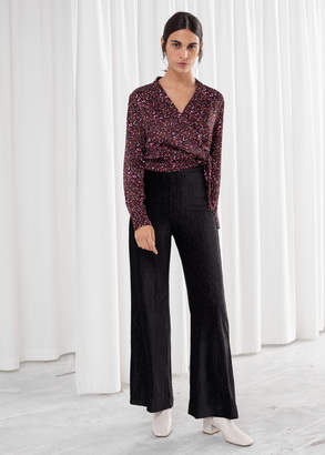 And other stories Flowy Velour Ribbed Trousers