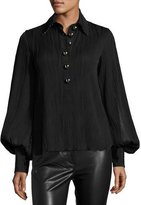 Prabal Gurung Pintuck-Rib Embellished-Collar Blouse, Black