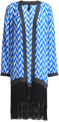 Emma Pake Liliana Fringed Printed Silk Crepe De Chine Robe