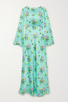 BERNADETTE Jane Floral-print Silk-satin Maxi Dress - Turquoise