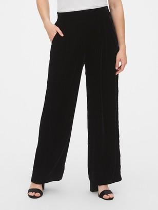 Gap High Rise Velvet Pleated Wide-Leg Pants