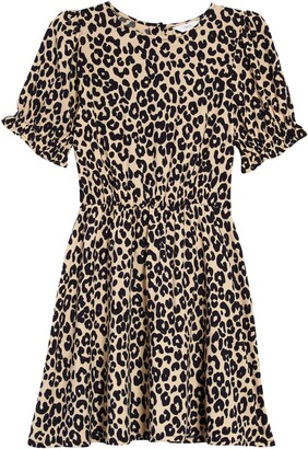 1901 Kids' Animal Print Ruffle Sleeve Dress