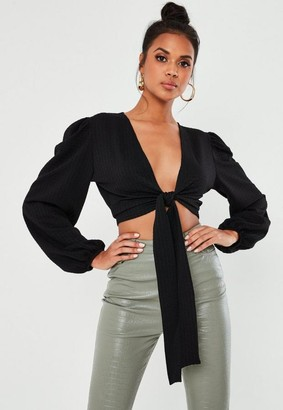 Missguided Black Crinkle Textured Tie Crop Top