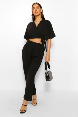 boohoo Tie Front Kimono Style Crop & Trouser Co-ord