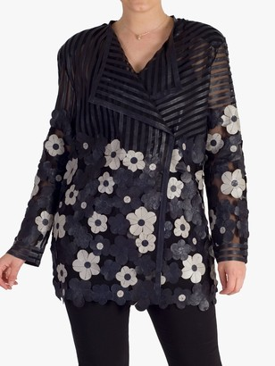Chesca Leather Floral Stripe Wrap Over Jacket, Navy/Grey