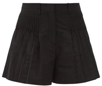 Valentino Pleated Cotton-blend Micro-faile Shorts - Black