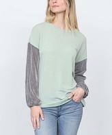 Egs By Eloges egs by eloges Women's Tunics SAGE - Sage Stripe-Sleeve Tunic - Women & Plus