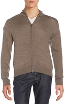 Saks Fifth Avenue Men's Merino Wool Zip-Front Cardigan - Beige/Khaki, Size xx-large