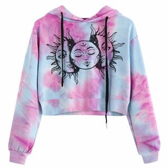 Sokmoop Women's Hoodie Sweatshirt Sun Printed Tie-dye Jumper Crop Tops Long Sleeve Pullover Blouse Tunic Shirts Blouses Lightweight Warm Outwear Sweatshirts Casual Loungewear (PurpleS )