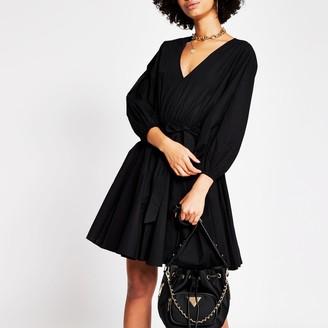 River Island Womens Black short sleeve full skirt mini dress