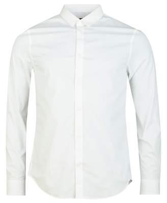 Armani Exchange Long Sleeved Slim Fit Poplin Shirt Colour: BLACK, Size