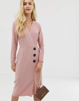 Asos Design DESIGN wrap front midi dress with button detail-Pink
