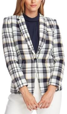 Vince Camuto Cotton Plaid-Print Single-Button Blazer