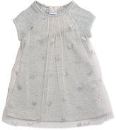 Billieblush Jersey & Tulle Metallic Shift Dress, Gray/Pink, Size 12M-3