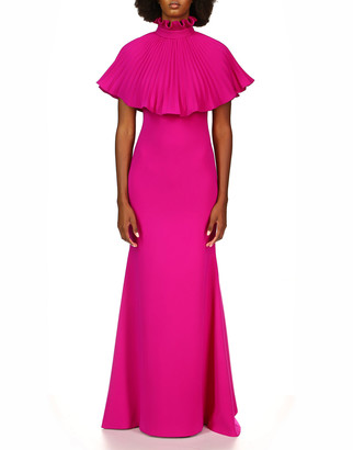 Theia Stretch Crepe Fitted Mermaid Gown w/ Pleated Cape