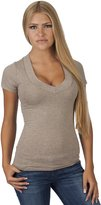 Hollywood Star Fashion Clothes Effect Women's Short Sleeve Wide Band V-neck T-Shirt
