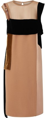 Burberry Strap Detail Panelled Silk and Velvet Dress