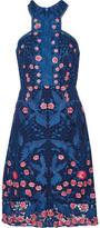 Marchesa Open Knit-Trimmed Lace Dress