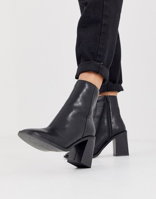 Head Over Heels By Dune Olivee black heeled ankle boots with square toe