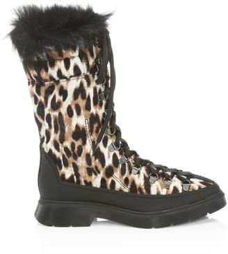 Stuart Weitzman Jessie Shearling-Lined Leopard-Print Calf Hair Winter Boots