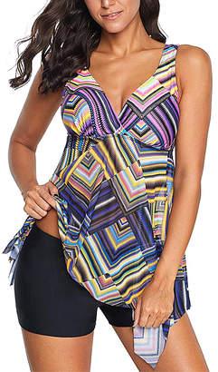 Zesica Women's Bikini Bottoms Multicolor - Purple & Yellow Geometric Tankini - Women