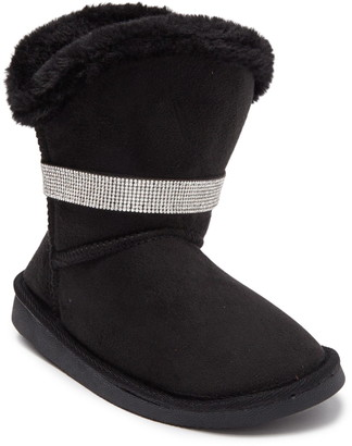 Bebe Rhinestone Trim Faux Fur Lined Winter Boot