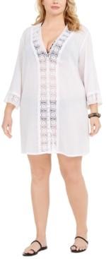 La Blanca Plus Size Island Fare Cotton Tunic Cover-Up Women's Swimsuit