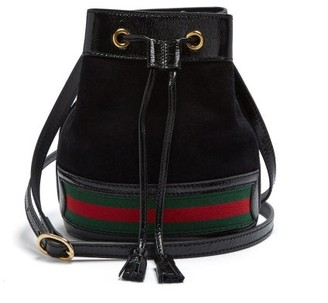 Gucci Ophidia Web-striped Mini Suede Bucket Bag - Black Multi